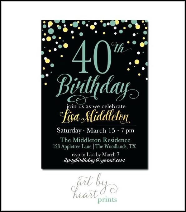 40th Birthday Party Invites Free Templates