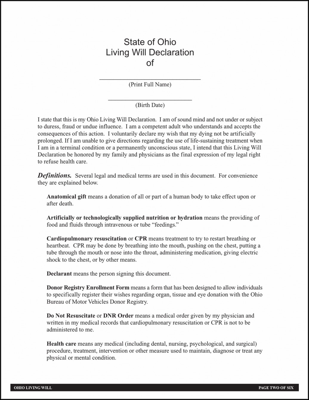 Advance Healthcare Directive Form Nsw