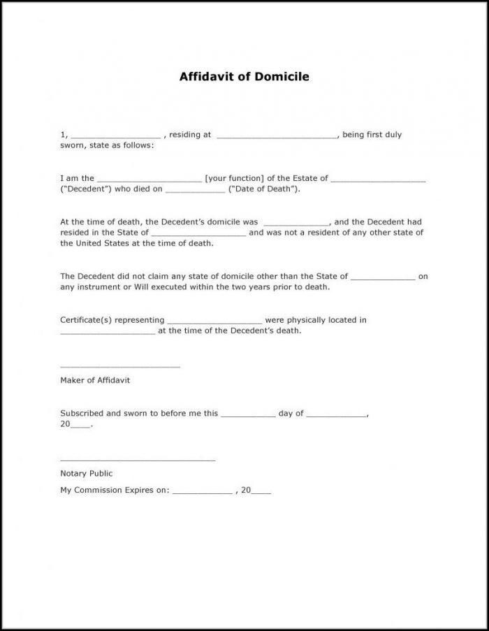 Affidavit Of Domicile Form