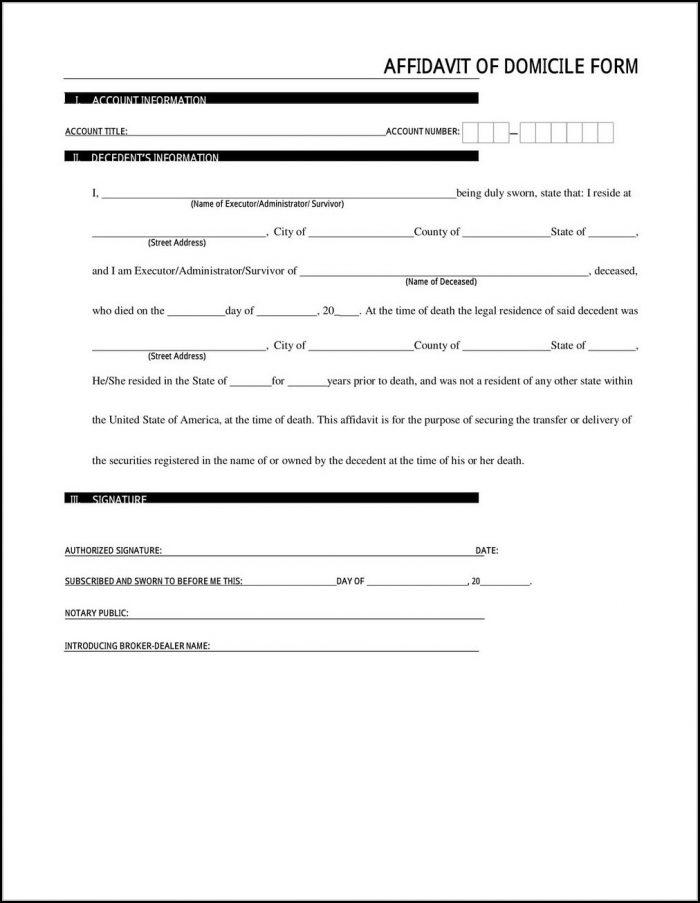 Affidavit Of Domicile Form Computershare
