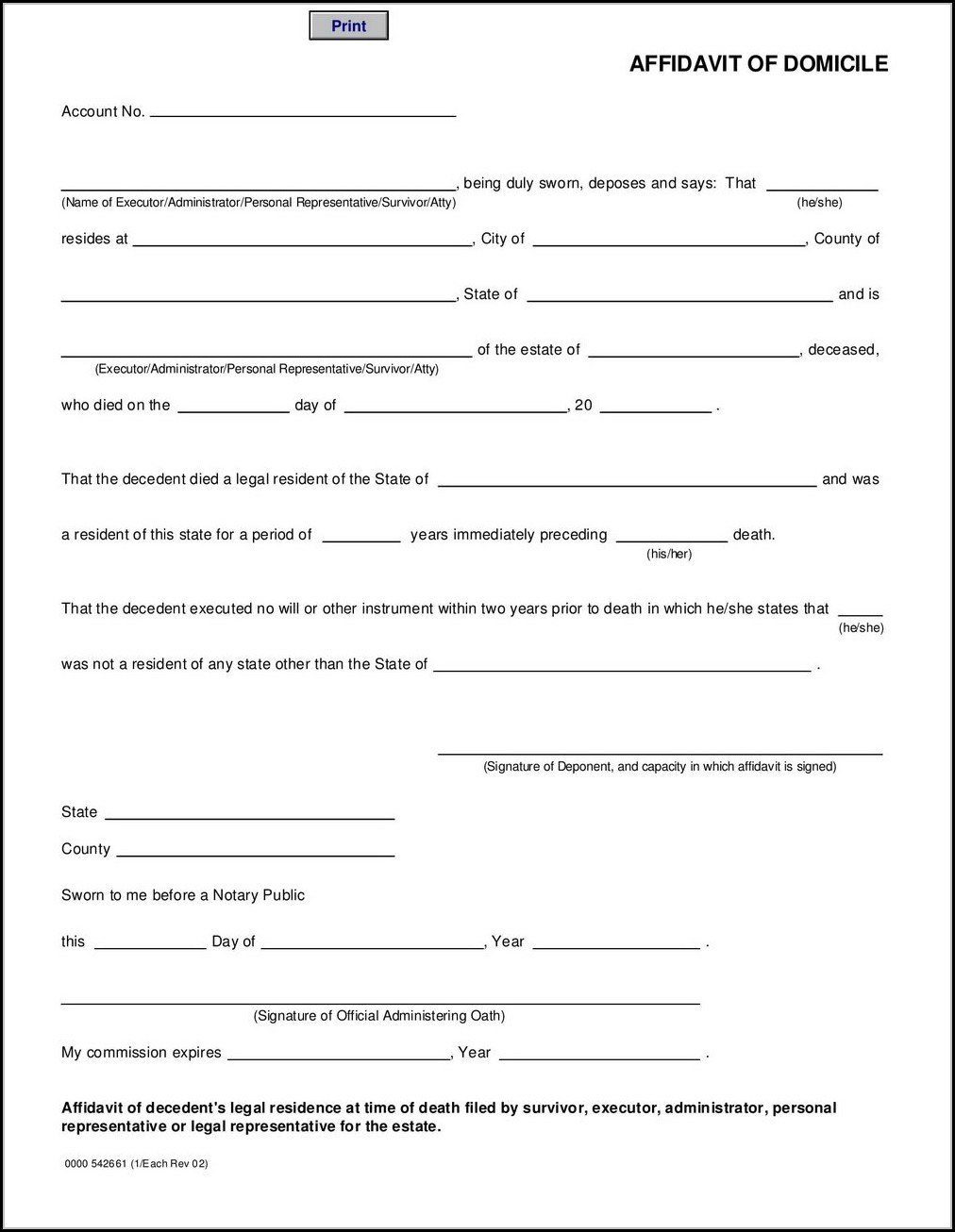 Affidavit Of Domicile Form Wells Fargo