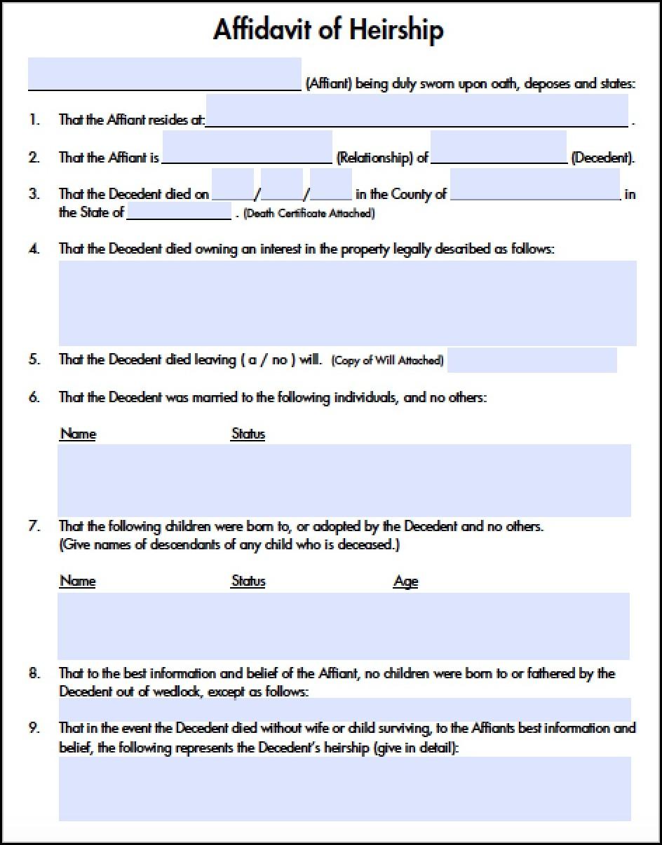 Affidavit Of Heirship Form Illinois