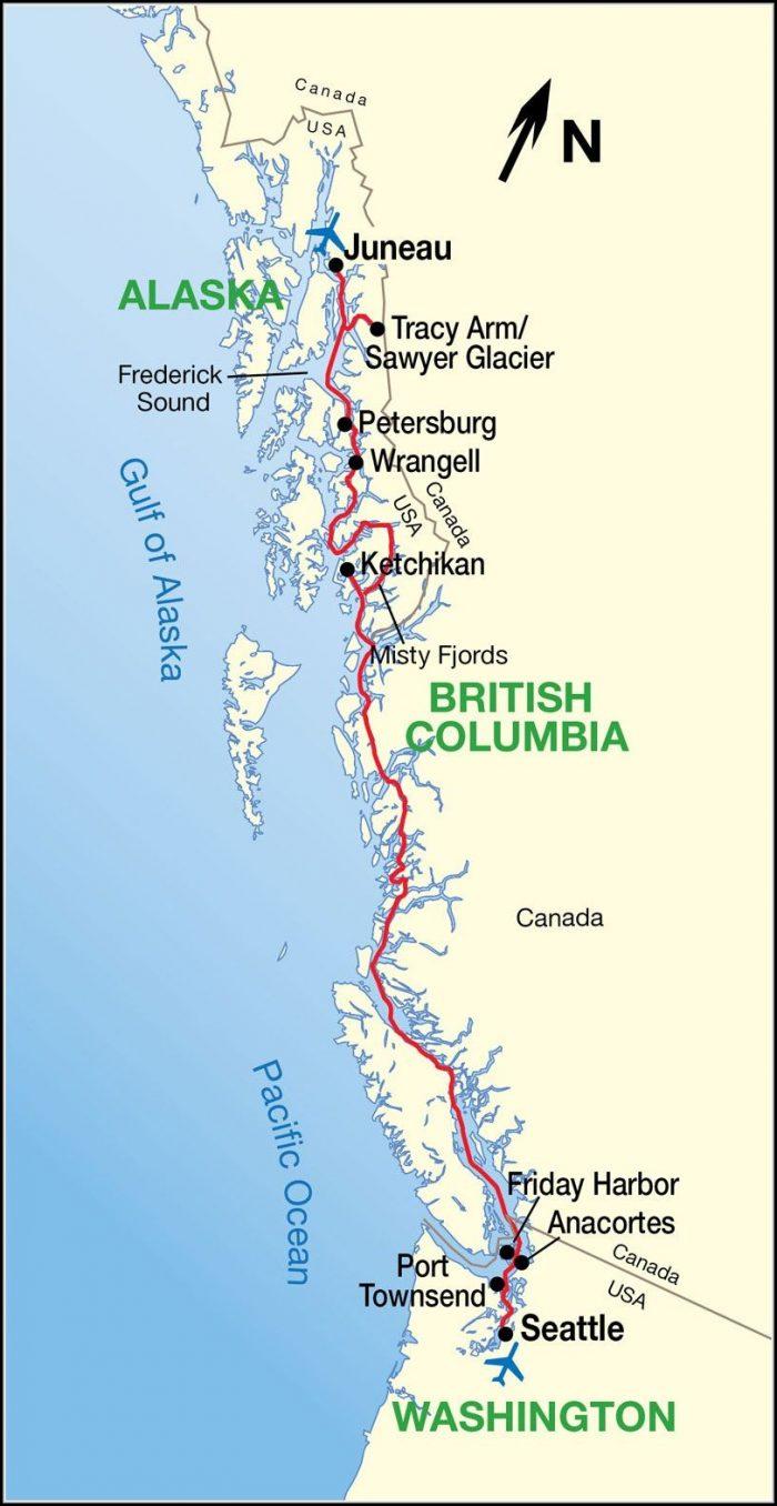 Alaska Inside Passage Cruise Map