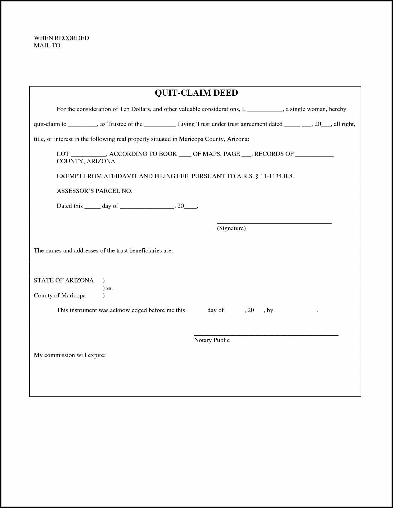 Arizona Quit Claim Deed Form Pdf Maricopa County