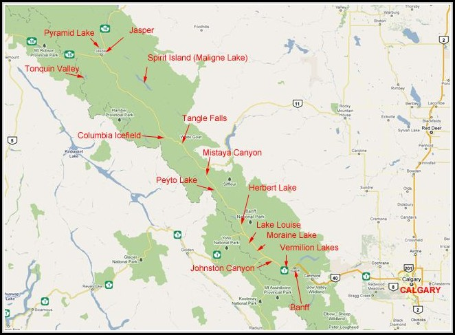 Banff And Jasper National Park Map