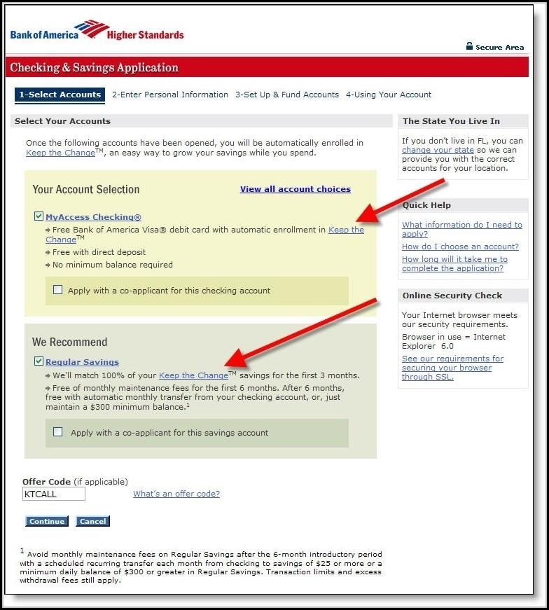 Bank Of America Application Job