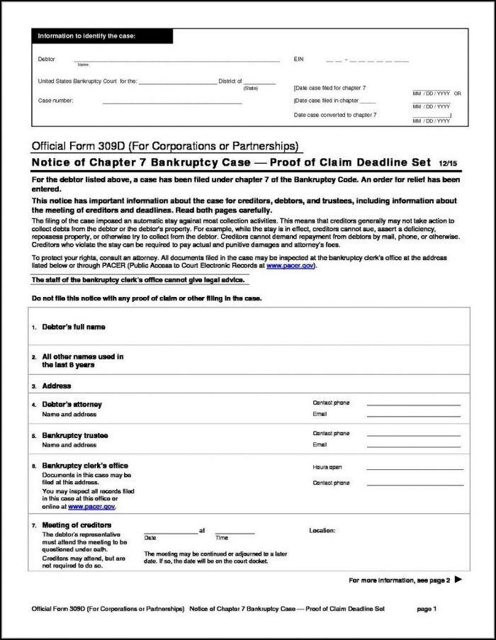 Bankruptcy Chapter 7 Forms Maryland