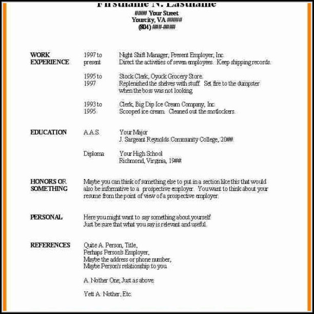 Basic Resume Template Microsoft Word