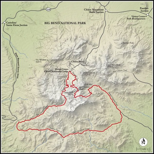 Big Bend National Park Hiking Trail Map