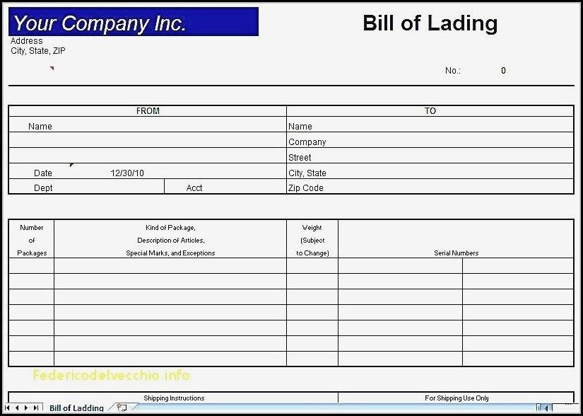 Bill Of Lading Short Form Template Excel