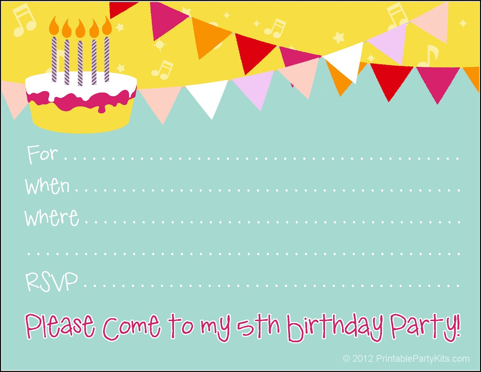 Birthday Party Invitation Card Template Free
