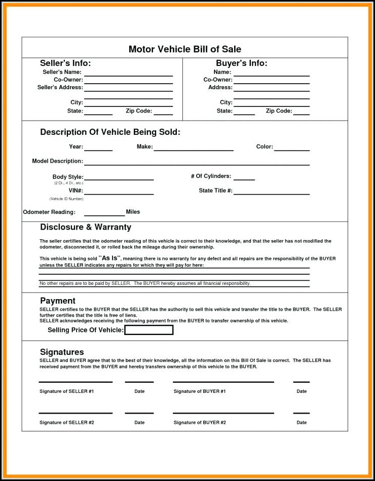 Blank Bill Of Sale Form For Camper Trailer