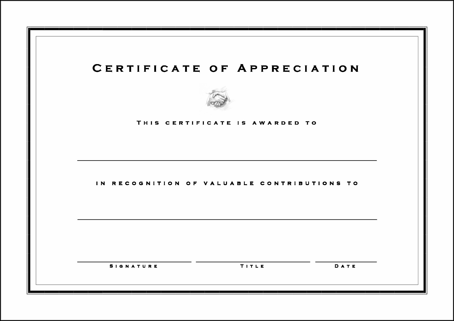 Blank Certificate Of Appreciation Templates Free