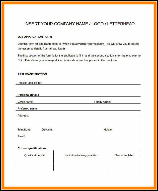 Blank Generic Job Application Form
