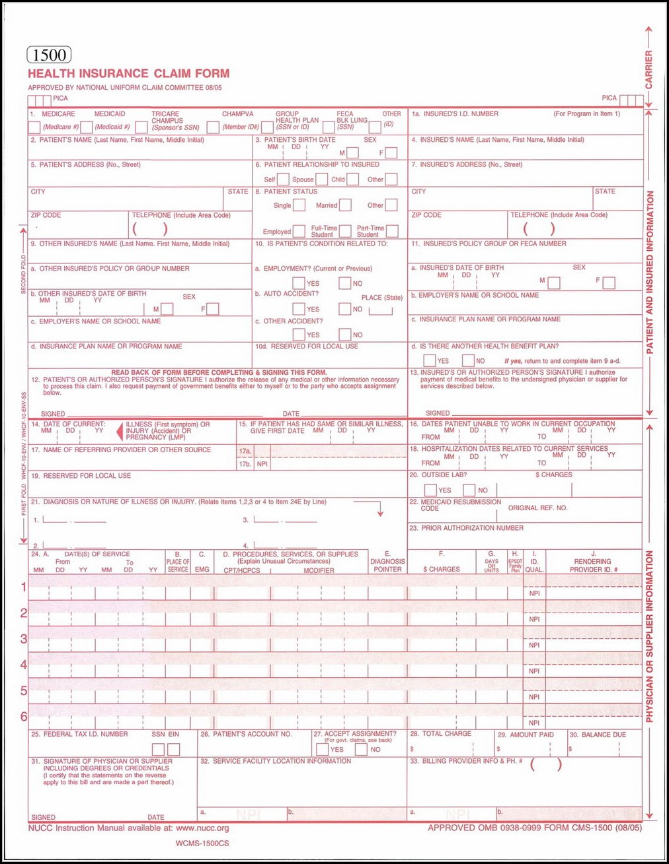 Blank Hcfa 1500 Form