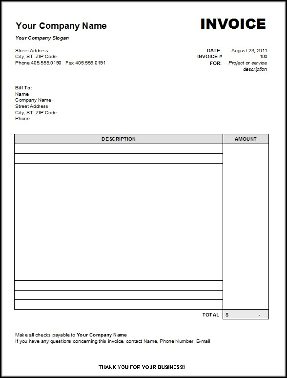 Blank Invoice Form