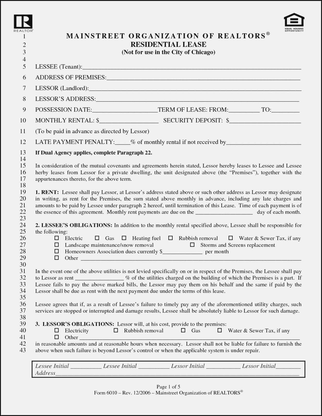 Blank Residential Lease Agreement Form