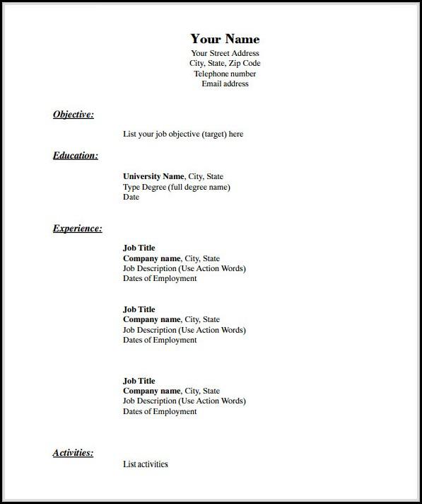 Blank Resume Pdf Download