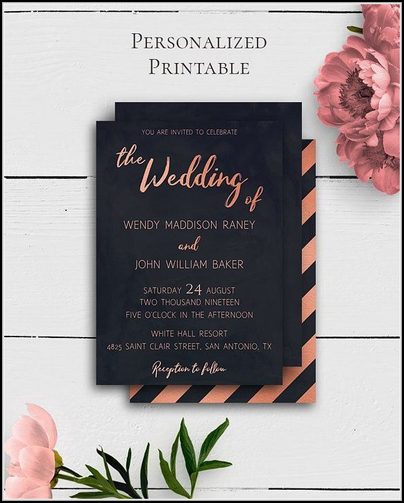 Blank Rose Gold Invitation Template