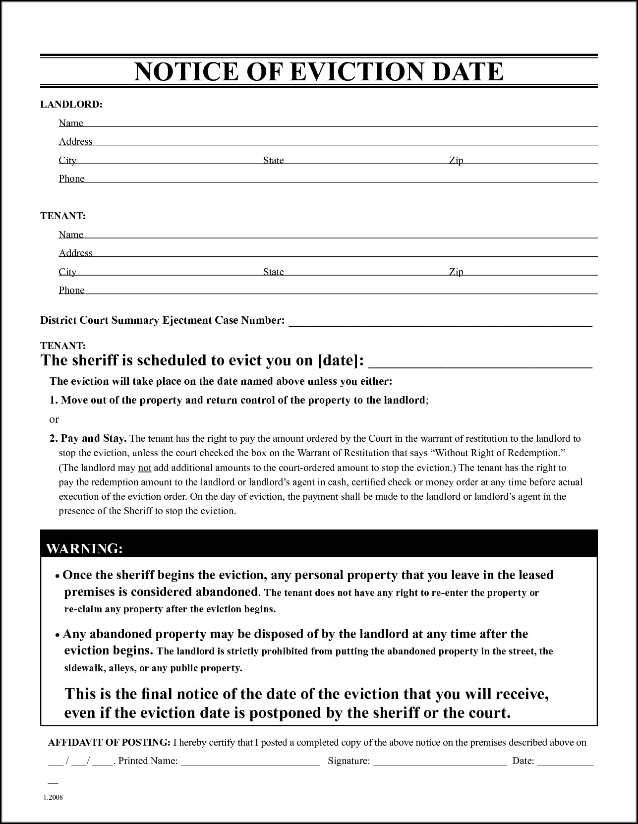 California Eviction Notice Form Pdf