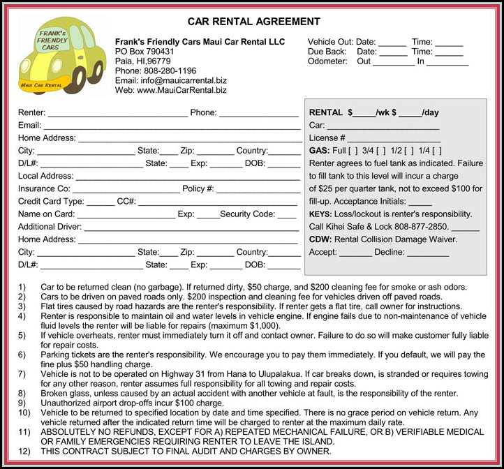 Car Rental Agreement Form Pdf
