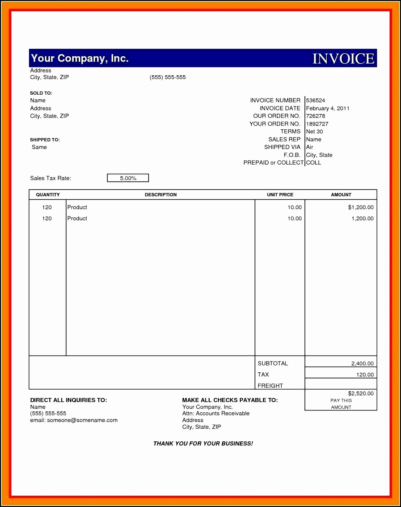 Cash Invoice Template Excel