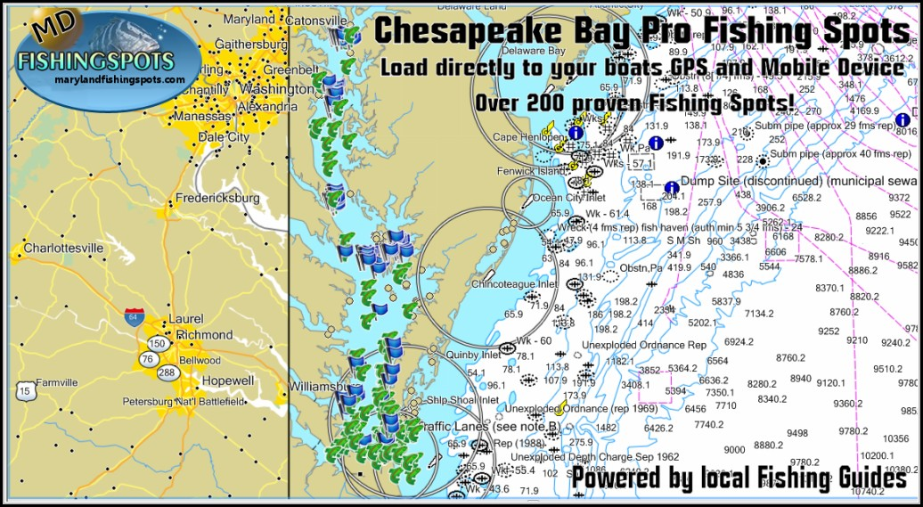 Chesapeake Bay Fishing Hot Spots Map