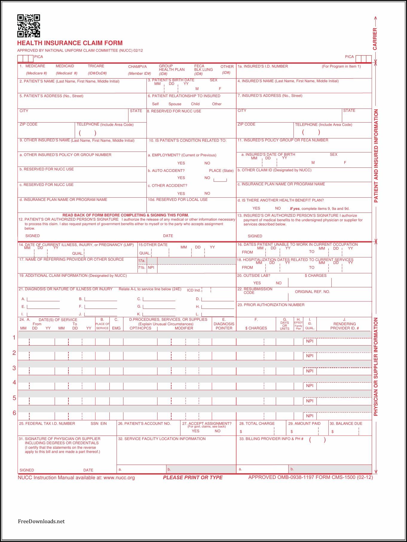 Cms 1500 Claim Form Pdf