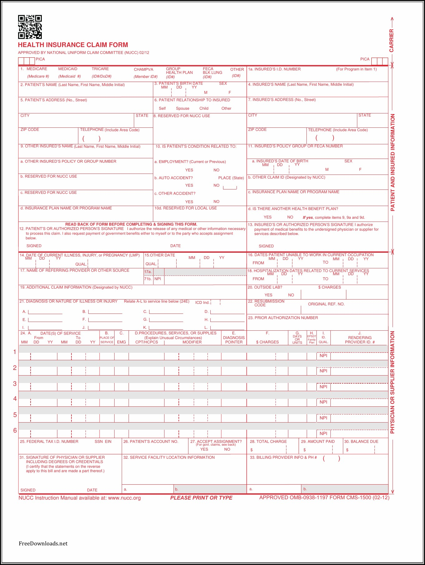 Cms 1500 Form Pdf