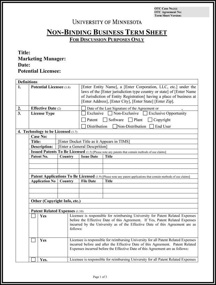 Contract Term Sheet Template