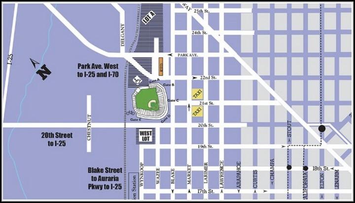 Coors Field Parking Map