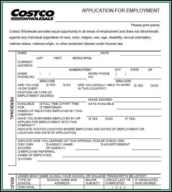 Costco Job Application Pdf