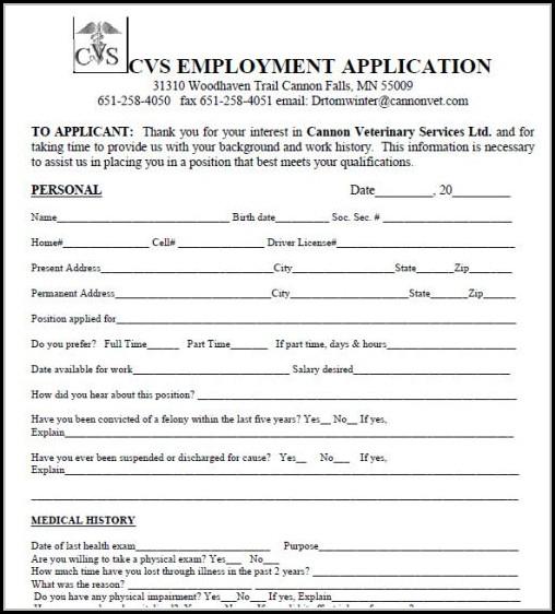 Cvs Job Application Form Pdf