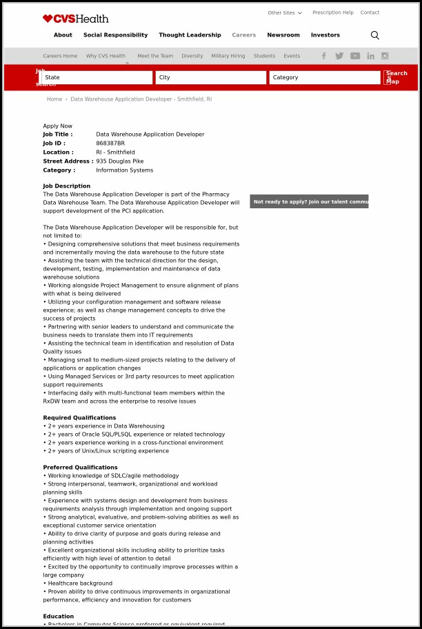Cvs Warehouse Job Application