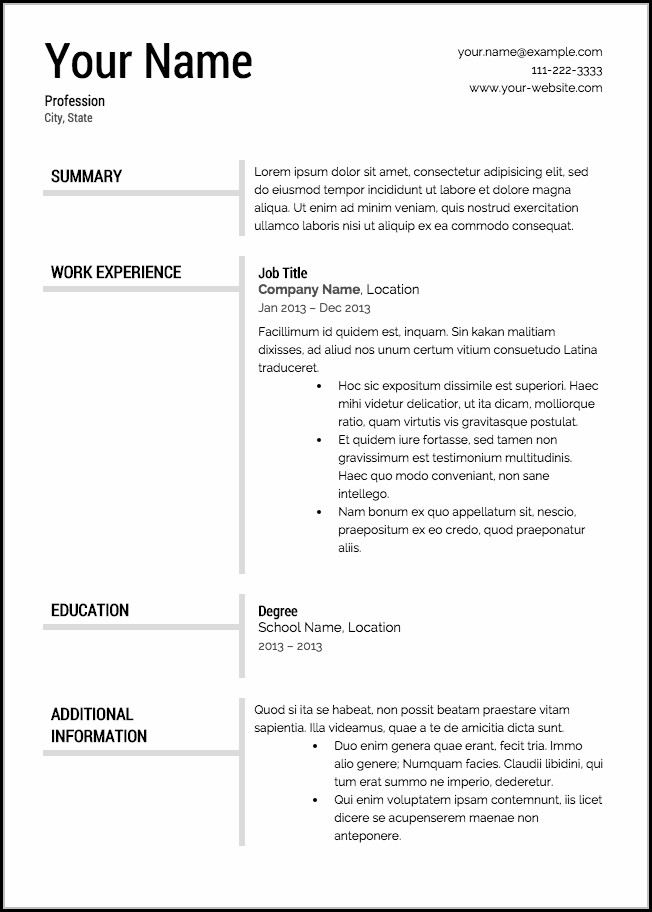 Downloadable Resume Templates Free