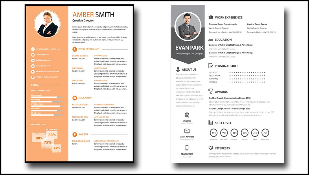 Editable Resume Template Psd
