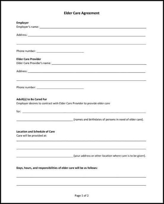 Elder Care Agreement (form 85)