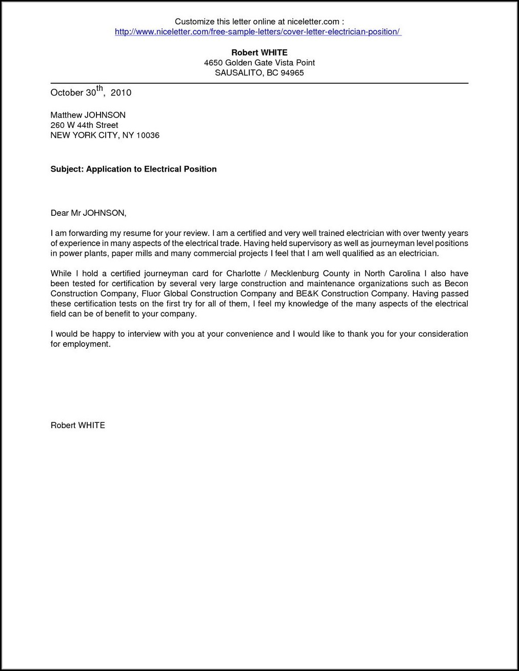 Electrician Job Application Cover Letter