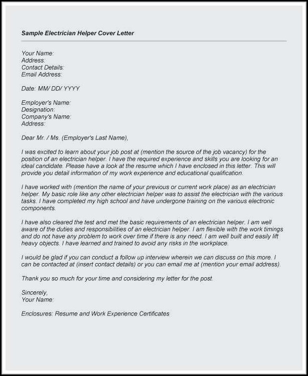 Electrician Job Application Letter Sample