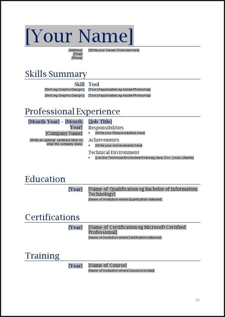 Free Blank Resume Template