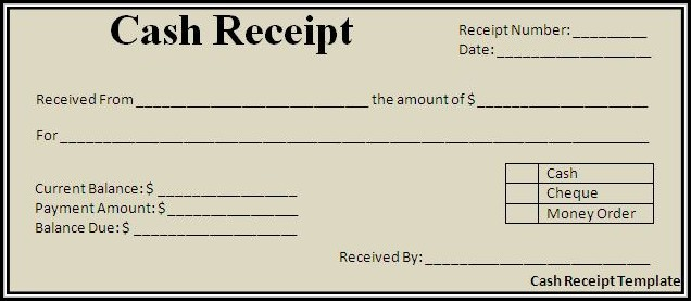 Free Cash Payment Receipt Template