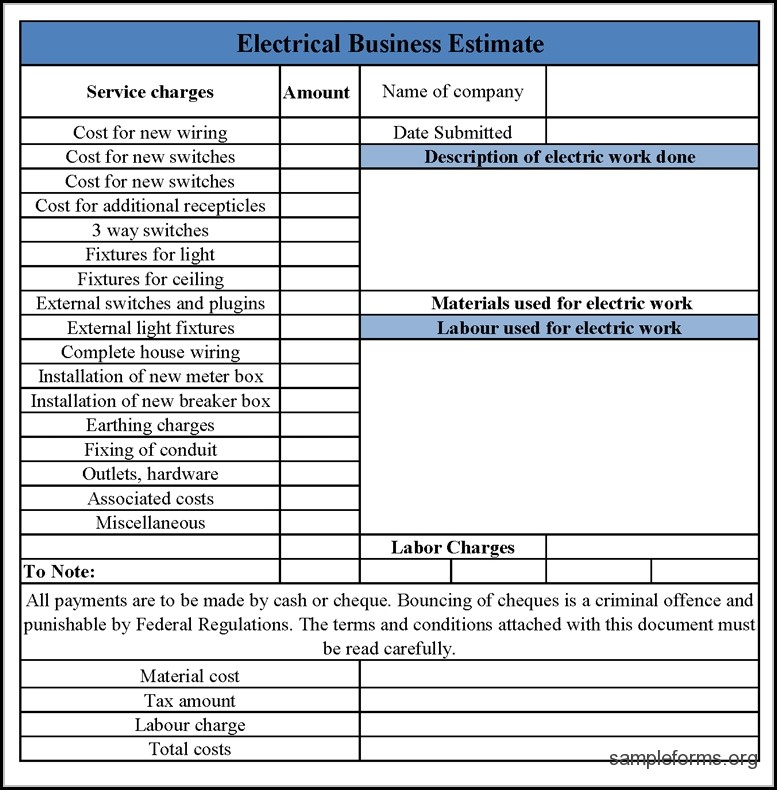 Free Electrical Bid Proposal Template