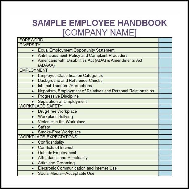 Free Employee Handbook Template Word