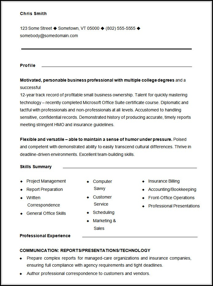 Free Functional Resume Template