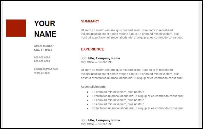 Free Google Resume Templates
