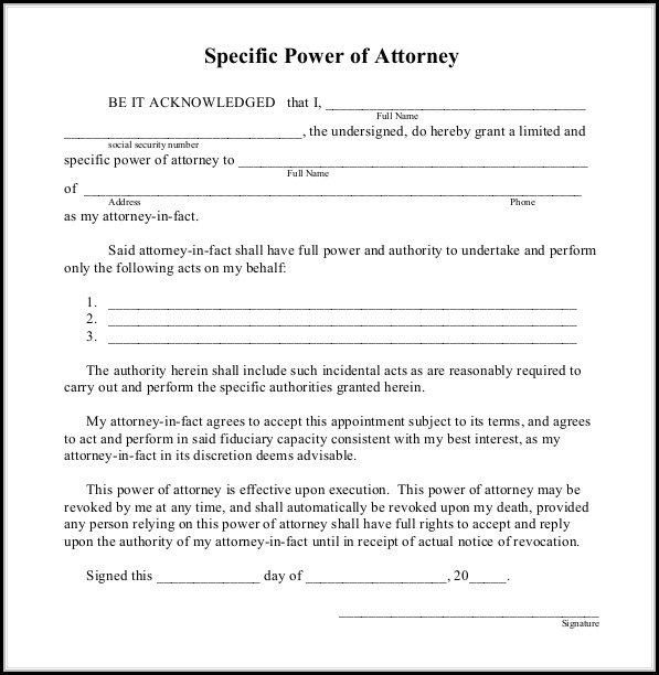 Free Power Of Attorney Templates