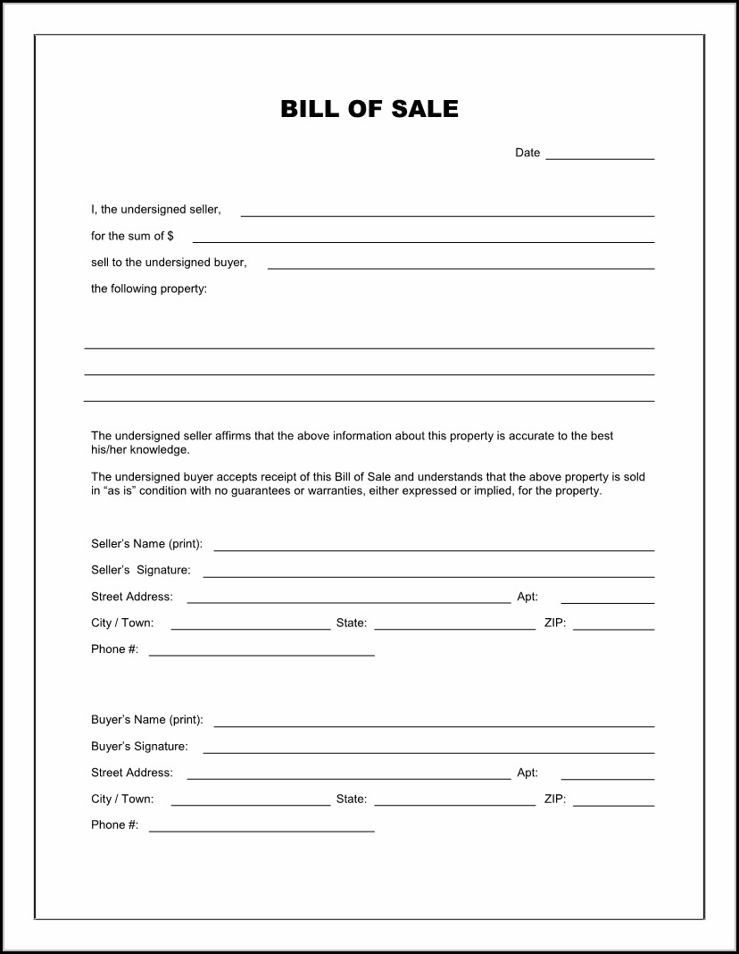Free Printable Bill Of Sale Template