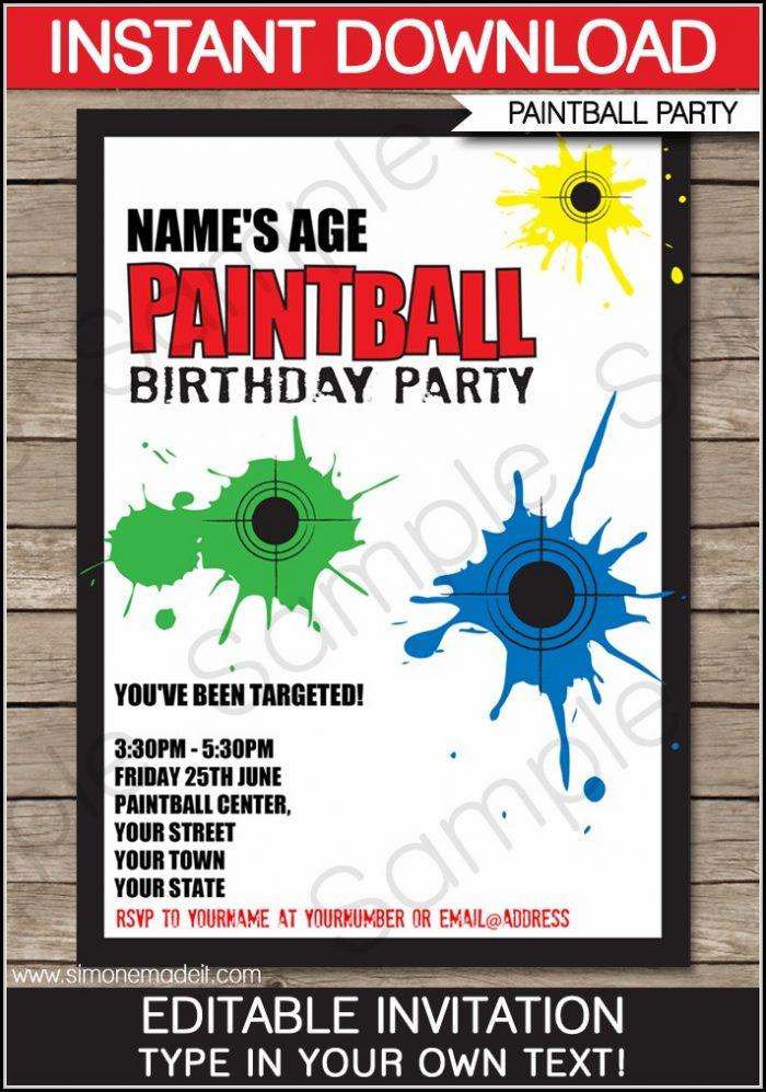 Free Printable Paintball Birthday Invitation Templates