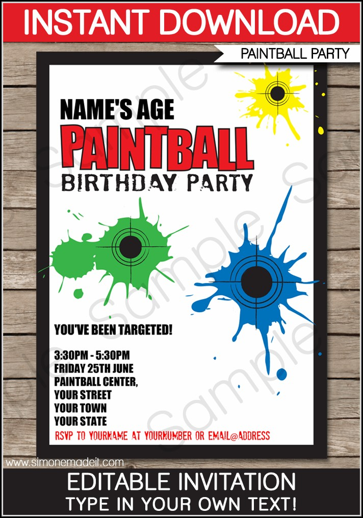 Free Printable Paintball Birthday Invitation Templates
