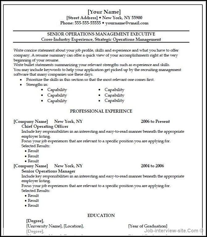 Free Professional Resume Templates Microsoft Word